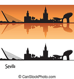 Seville Skyline in orange background in editable vector file
