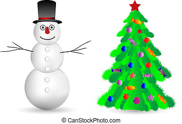 Snowman and Christmas tree on white