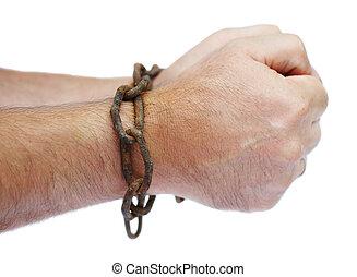 Manos, hombre, cadena, encadenado