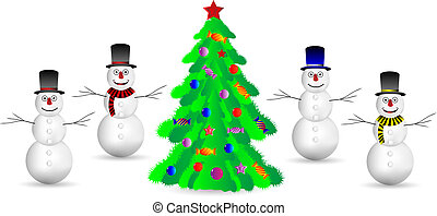 Snowmans and Christmas tree on white