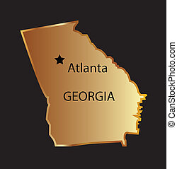 Gold georgia state map with capital name Gold georgia state...
