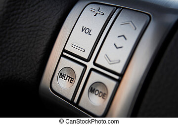 Car audio control buttons on a steering wheel