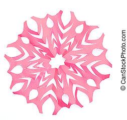Origami snowflake on the white background