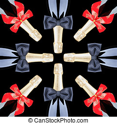 Champagne Bottles with Red Bows and Black Bow Ties - A group...