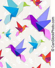 Origami hummingbirds pattern background - Pastel colors...