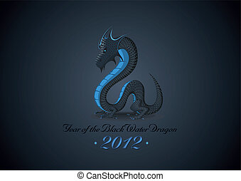 Year 2012 of Black Water Dragon - Vector concept of New Year...