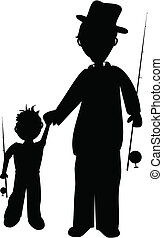 father and son silhouette - father and son going fishing
