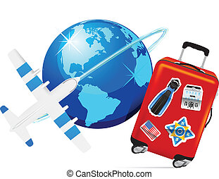 Airplane Travel with Suitcase and globe on white background....