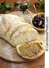 Fresh bread with olive tapenade
