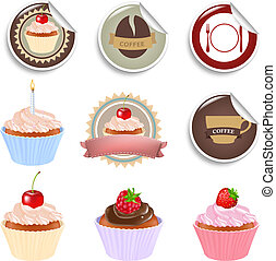Cupcake And Labels Set, Isolated On White Background, Vector...