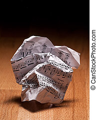 Crumpled sheet of music notes - crumpled paper sheet of...