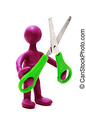 Purple puppet of plasticine holding green scissors - Purple...