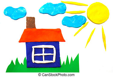 Sunny weather picture maded by plasticine - House and sunny...