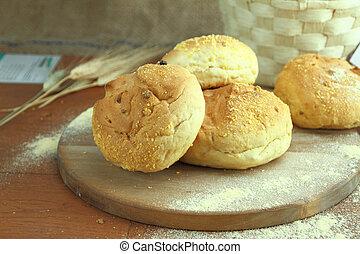 fresco, milho, pão