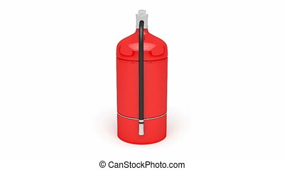 Fire extinguisher rotates on white background Alpha channel...