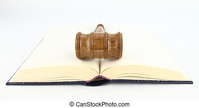 Judge's Gavel over a book
