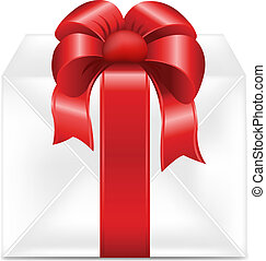 Gift Box With Red Ribbon, Isolated On White Background,...
