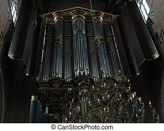Grand old organ in Dutch church - 17th century organ of the...