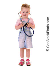 Small playful doctor - Small playful girl with stethoscope...