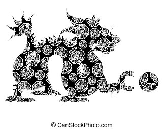 Chinese Dragon Sitting Archaic Motif Black and White Clip Art