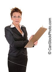 Confused business woman with documents isolated on white...