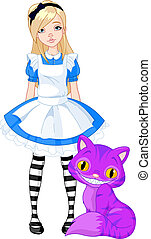 Alice in Wonderland - Alice in Wonderland and Cheshire Cat...