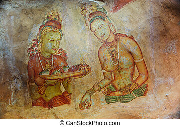 world famous frescos of ladies in Sigiriya style at the...