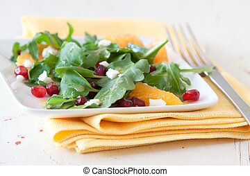 Spinach, Pomegranate and Orange Salad - Summer salad of baby...