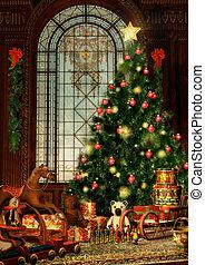 Merry Christmas - a christmas fir and christmas gifts