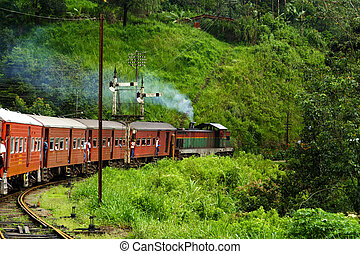 riding by train the scenic mountain track from Nuwarelia to...
