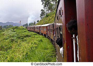 the historic train from Nuwara Eliya to colombo passes...