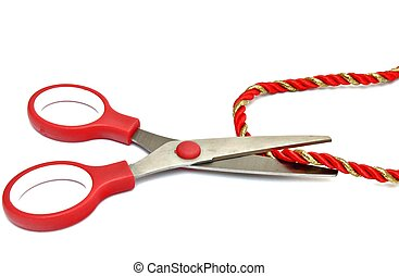 Scissors cutting a cord, surrounded by white background