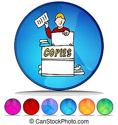 copiadora, brillante, botón, Conjunto