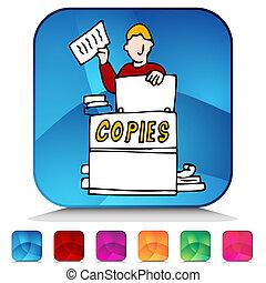 un, imagen, copiadora, brillante, botón, Conjunto