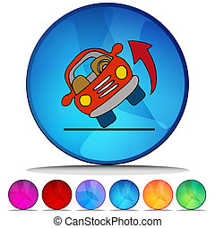 Automobile Rolling Over Shiny Button Set