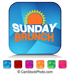 Sunday Brunch Shiny Button Set - An image of a Sunday Brunch...