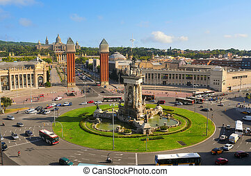 plaza de Espanya - Aerial view of plaza de Espanya with...