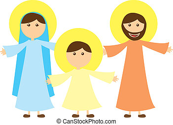 virgin mary and st joseph with jesus isolated vector