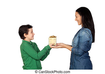 Mothers Day - Mothers Day Child giving a gift to his mother...