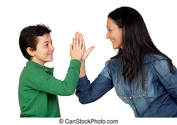 Adorable mother and her son making a handshake isolated on...