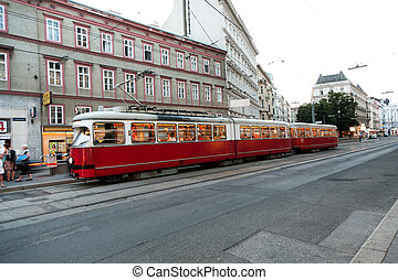 vintage tram in Motion - vintage tram in Vienna in motion