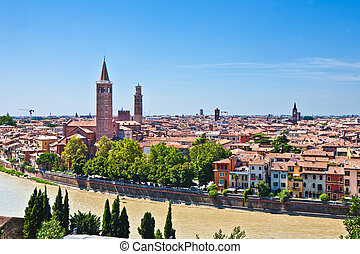 Verona panoramic view from the hill over the medieval city...