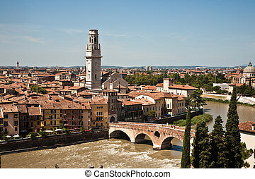 panorama of Verona with view of the old dome and the roman...