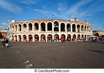 world famous amphi theater ,old roman arena from verona from...