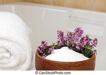 Relaxing Ingredients - Fresh pink purple heather flowers in...