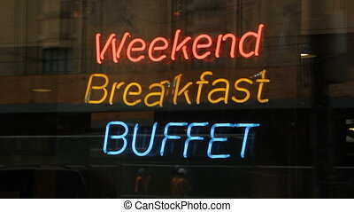 Breakfast sign - Weekend breakfast buffet sign in window...