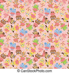 cartoon animal ballerina seamless pattern