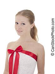 hermoso, niña, cinta, rojo