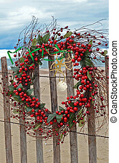 Christmas Beach Wreath - Christmas berry wreath on beach...
