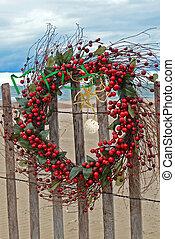 Christmas Beach Wreath - Christmas berry wreath on beach...